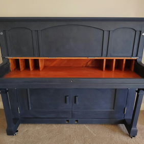 Reclaimed Piano Drinks Cabinet in Oxford Blue - Upcycled Furniture
