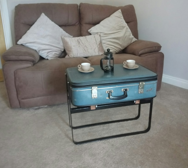 Vintage Blue Suitcase Coffee Table - Handmade Reclaimed Furniture