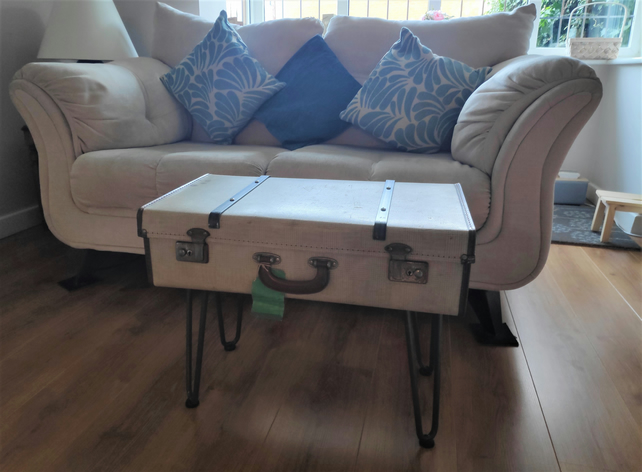 Vintage Cream Suitcase Coffee Table - Upcycled Furniture