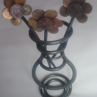 Handcrafted Coin and Steel Flower Vase Ornament