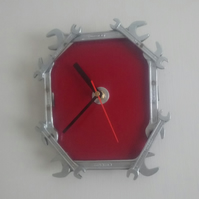 Reclaimed Spanner Wall Clock - Red