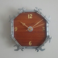 Reclaimed Spanner Wall Clock - Dark Wood