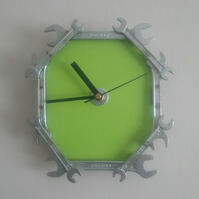 Reclaimed Spanner Wall Clock - Green