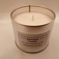 Vanilla scented soy wax candle tin handmade in mid Wales