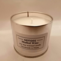 Mulled Wine scented soy wax candle tin handmade in mid Wales
