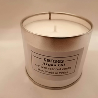 Argan oil scented soy wax candle tin handmade in Mid Wales