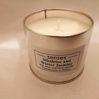 Mistletoe and Winter Jasmine scented soy wax candle tin handmade in mid Wales