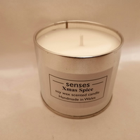 Xmas Spice scented soy wax candle tin handmade in mid Wales