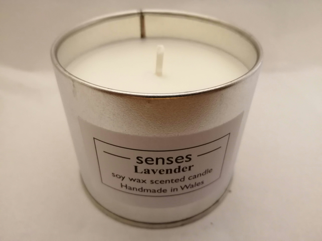 Lavender essential oil scented soy wax candle tin handmade in mid Wales