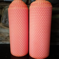 A pair of Orange Rolled Beeswax Candles 70mm diameter x 200mm high
