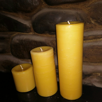 Set of three beeswax pillar candles handmade made with organic beeswax