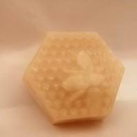 Hexagonal Organic Beeswax Block with bee cast onto the block - 30g