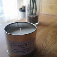Rose scented soy wax candle tin