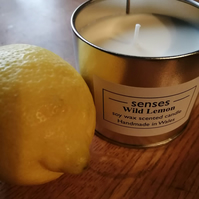 Wild Lemon scented soy wax candle tin handmade in mid Wales