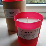 Rose scented soy wax candle in red etched glass handmade in Wales