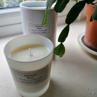 Rose scented soy wax candle in white etched glass handmade in Wales.