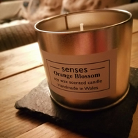 Orange Blossom scented soy wax candle tin handmade in Wales
