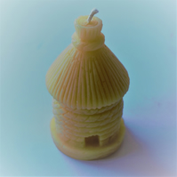 Thatched skep beeswax candle handmade with organic beeswax