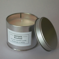 Rosebud scented soy wax candle tin handmade in mid Wales