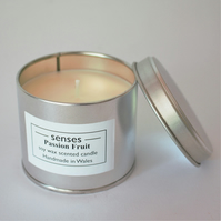 Passion Fruit scented soy wax candle tin handmade in mid Wales