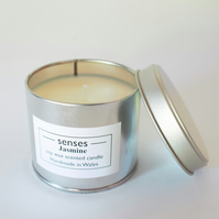 Jasmine scented soy wax candle tin handmade in mid Wales