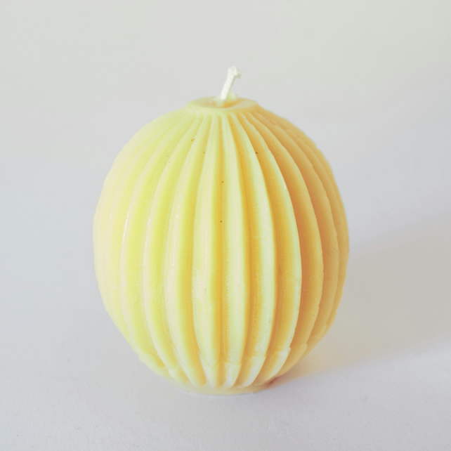 Segmented sphere organic beeswax candle handmade in mid Wales