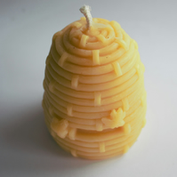 Extra large beeswax hive candle handmade in Wales with organic beeswax