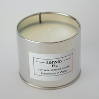 Fig scented soy wax candle tin handmade in Wales