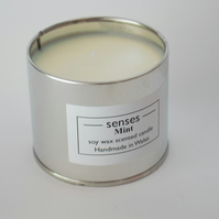 Mint scented soy wax candle tin handmade in Wales