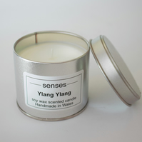 Ylang Ylang scented soy wax candle tin handmade in Wales