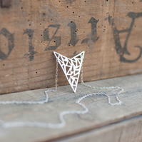 Statement Triangles Necklace Hand Sawn from Sterling Silver