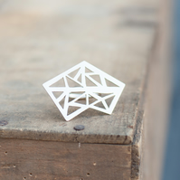Statement Triangles Ring Hand Sawn from Sterling Silver
