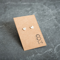 Hand Sawn Sterling Silver Heart Stud Earrings