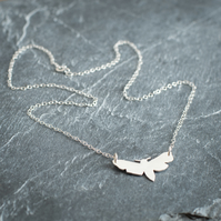 Hand Sawn Sterling Silver Moth Necklace