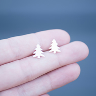 Hand Sawn Sterling Silver Tree Earrings