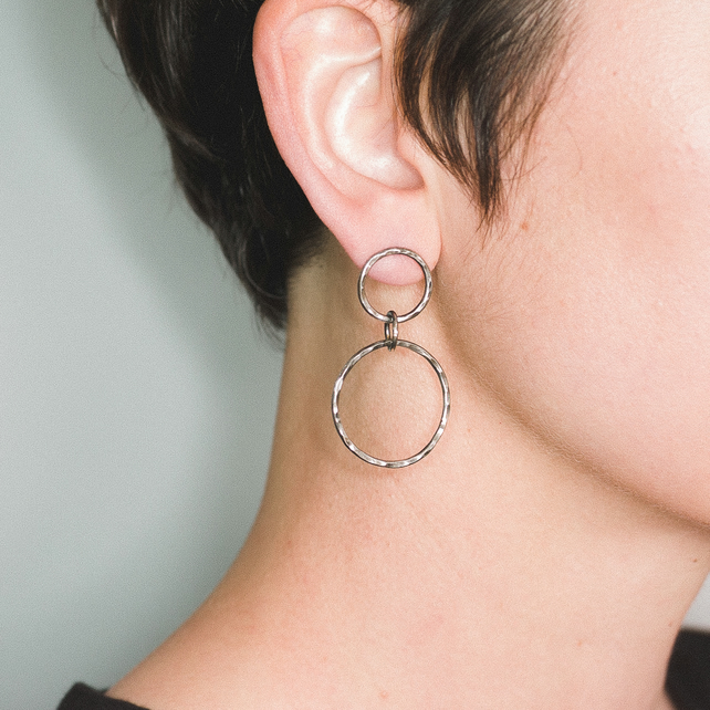 Oxidised Circle Earrings Handmade from Sterling Silver