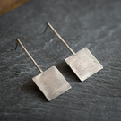 Textured Sterling Silver Square Earrings