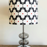 LUCY 20cm diam lampshade - Retro 1960's inspired black and white flower pattern