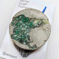 Dark Green Textile and Concrete Mixed Media 50mm Round Brooches