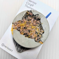 Coral & Yellow Textile and Concrete Mixed Media 50mm Round Brooches