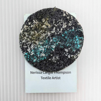Abstract Embellished Recycled Textile 65mm Brooches