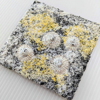 Square Coastal inspired Textile Art in Yellow & White