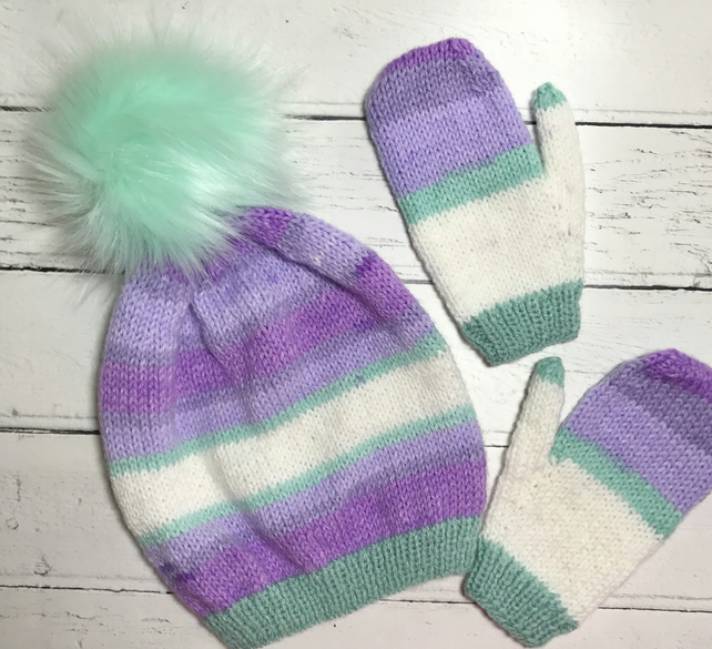 Children's Hand Knitted Fluffy Pompom  Beanie Hat & matching mittens set