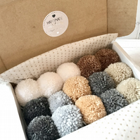 Box of 15 Handmade Pom Poms Stylecraft Special DK yarn  7 Natural colours
