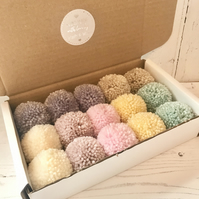 Box of 15 Handmade Pom Poms Stylecraft Special DK yarn 7 Baby Pastel Colours
