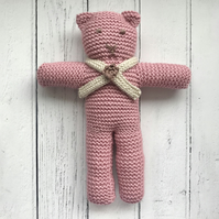 Hand Knitted Teddy Bear in Rose Pink with Scarf & Crochet Flower