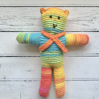 Hand Knitted Teddy Bear Soft Toy with Crochet Orange Scarf RAINBOW Colours