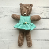 Hand Knitted Teddy Bear in Chocolate Brown with Green Knitted Dress