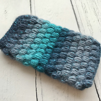 Crochet Mobile Phone Cozy Cover in Ombre Peacock Blue Glitter Colours