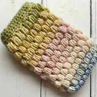 Crochet Mobile Phone Cozy Cover in Ombre Spring Glittery Colours